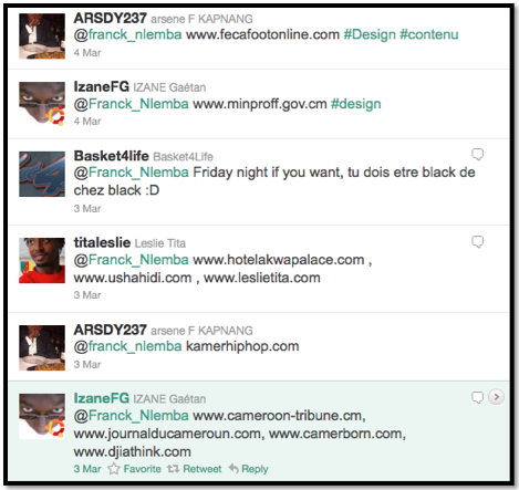 suggestions Twiiter sur les sites camerounais